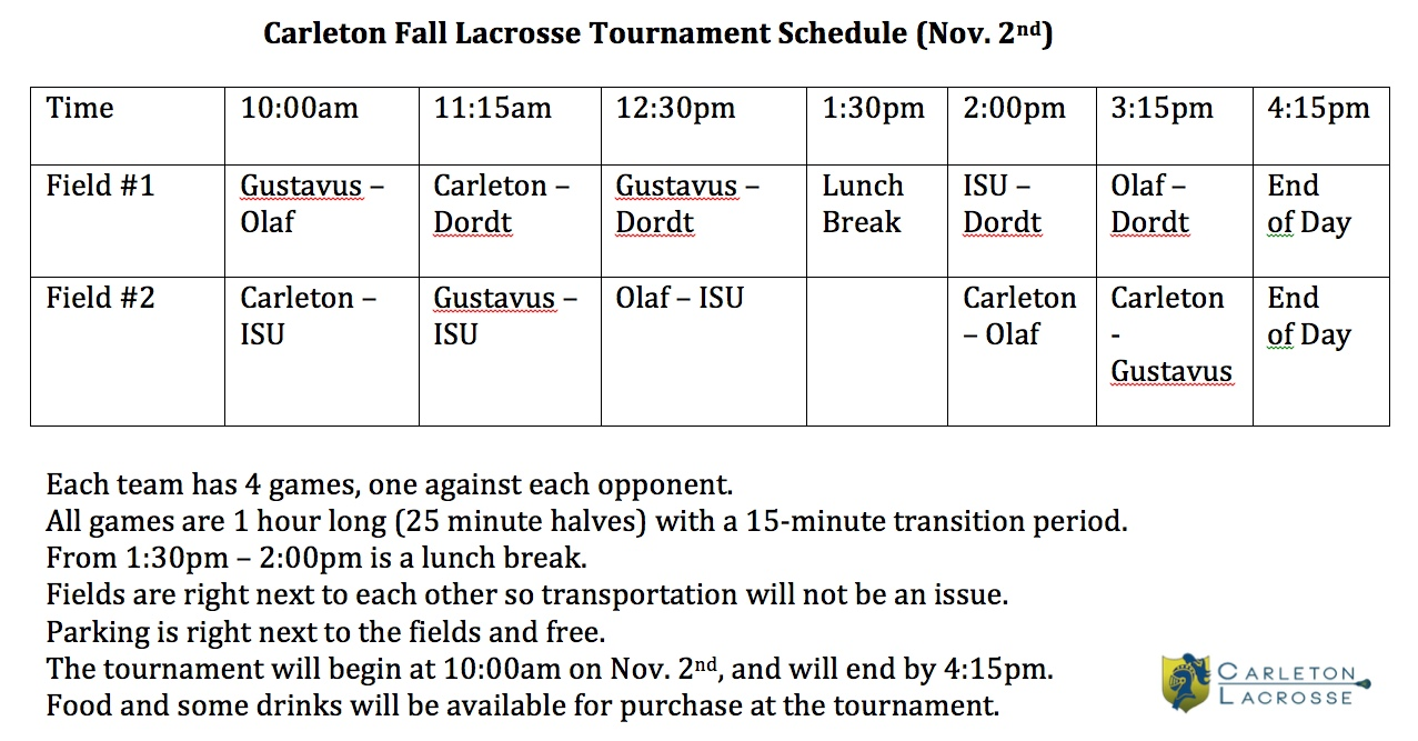 Carleton Fall Lacrosse Tournament Schedule