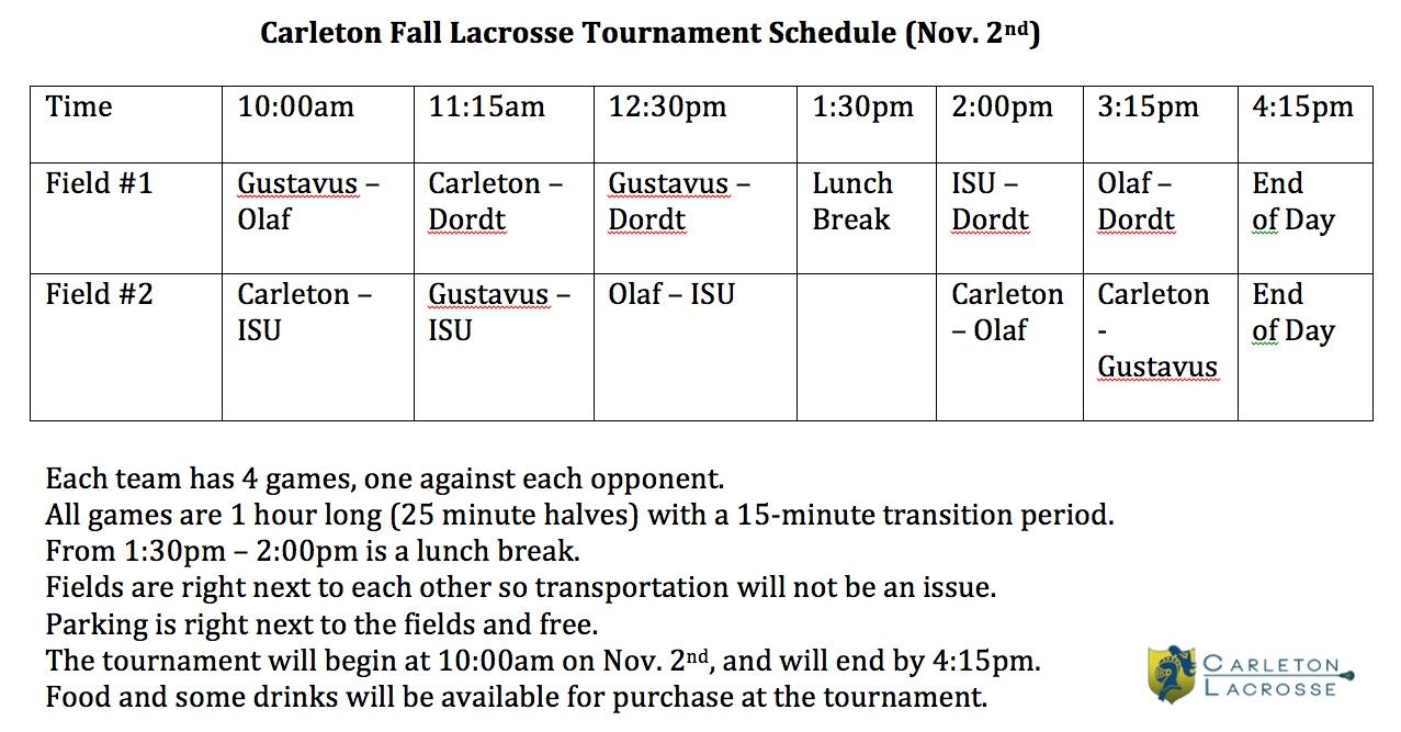 Carleton Fall Lacrosse Tournament Schedule